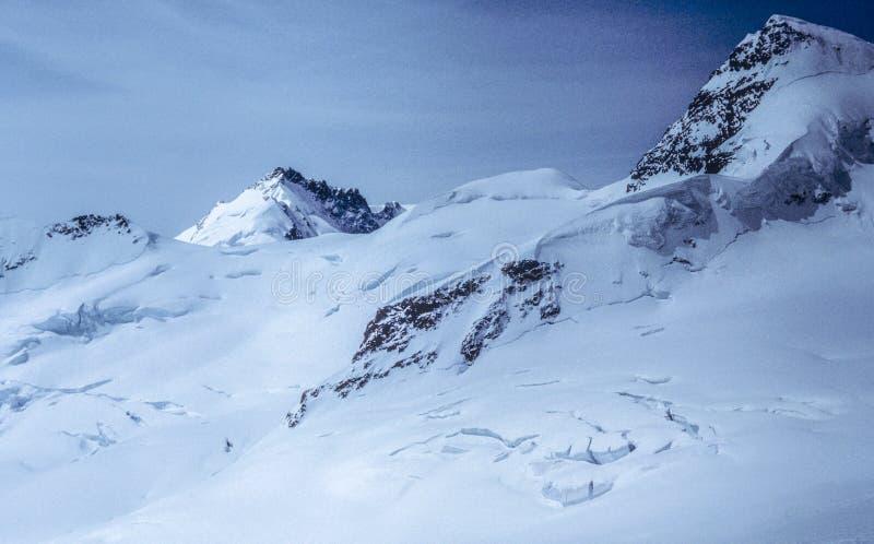 Nieskazitelny widok śniegi Zakrywający Straszni Szwajcarscy Alps obrazy stock