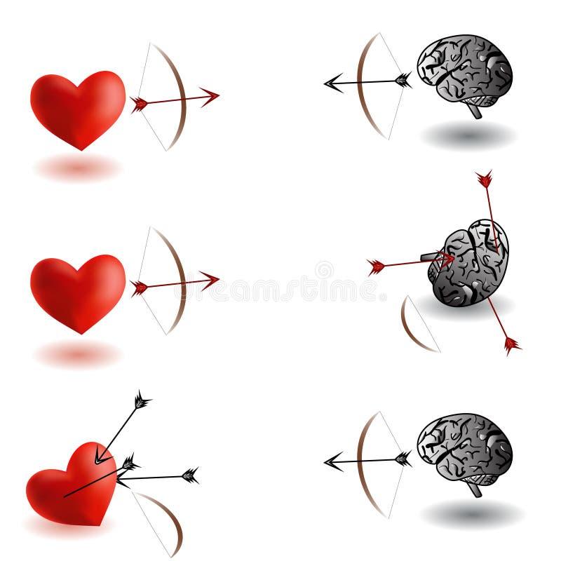Nieskończona bitwa, serce versus mózg, móżdżkowe różnicy, zwycięzcy i serce zwycięzcy ilustracji