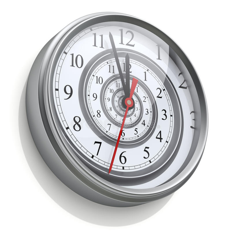 Nieskończona czas spirala w ściennym zegarze royalty ilustracja