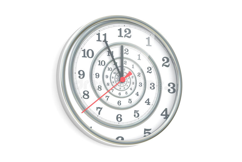Nieskończona czas spirala w ściennym zegarze, 3D rendering ilustracji