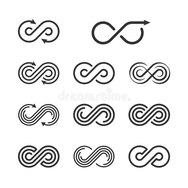 Nieskończoność loga szablonu set Nieskończona symbol ikony kolekcja ilustracja wektor