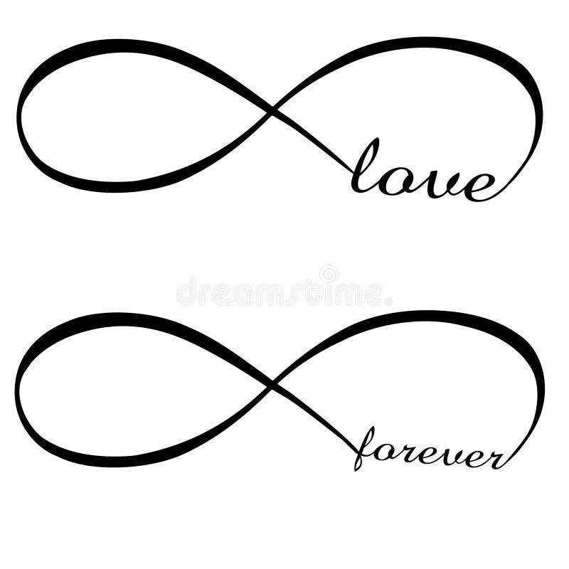 Nieskończoność symbol i miłość na zawsze ilustracja wektor