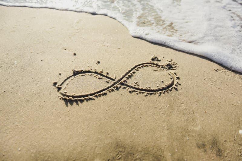 Nieskończoność symbol pisać na piasku obraz stock