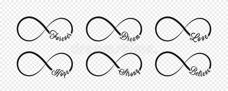 Nieskończoność symbole Powtórka, nieograniczona cyclicity ikona i znak ilustracja na przejrzystym tle forever royalty ilustracja