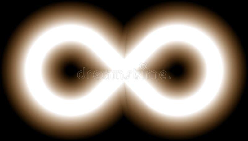 Nieskończoność symbolu światło białe - barwi odcień łunę z przezroczystością ilustracja wektor