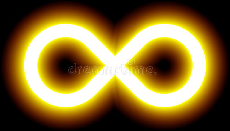 Nieskończoność symbolu żółty światło - barwi odcień łunę z przezroczystością ilustracja wektor