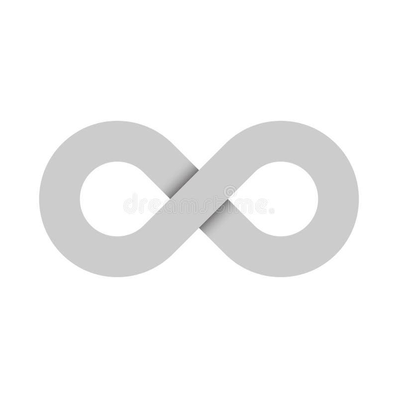 Nieskończoność symbolu ikona Reprezentować pojęcie nieskończone, nieogarnione i niekończący się rzeczy, Prosty popielaty wektorow ilustracji