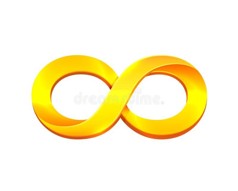 Nieskończoność złocisty symbol na białym tle ilustracja wektor