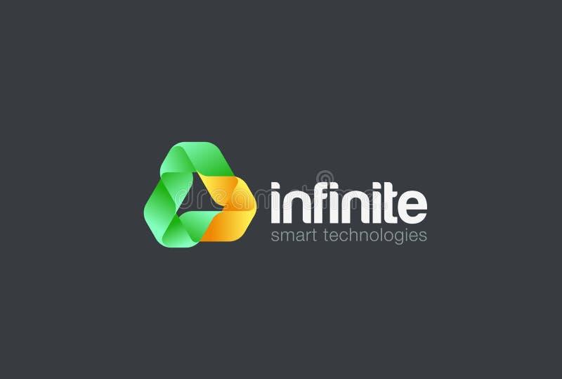Nieskończoność Zapętlający trójboka logo wektorowy Energetyczny Techno ilustracji