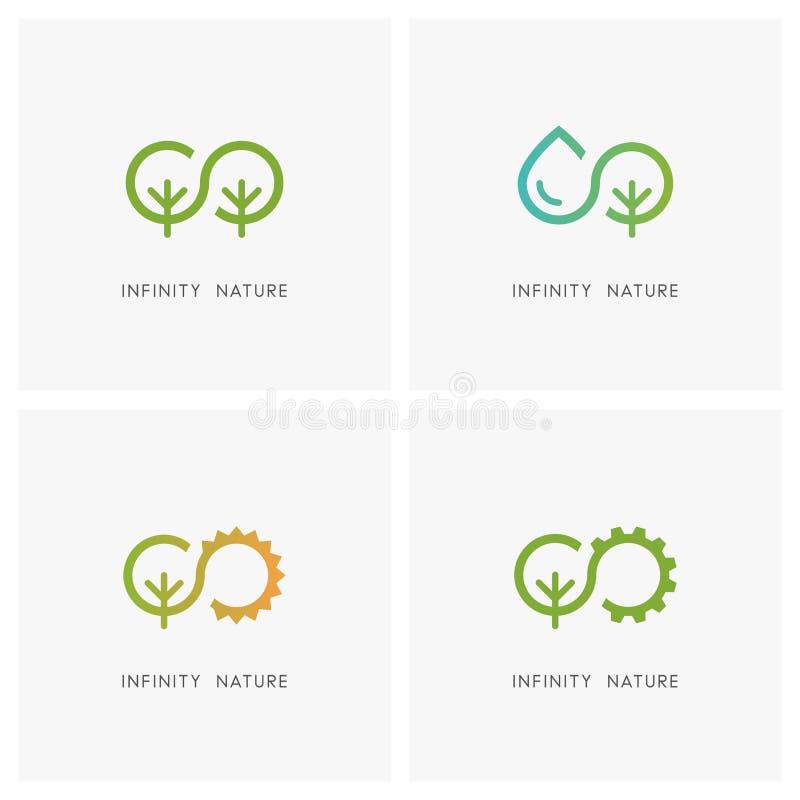 Nieskończoności i natury loga set ilustracja wektor