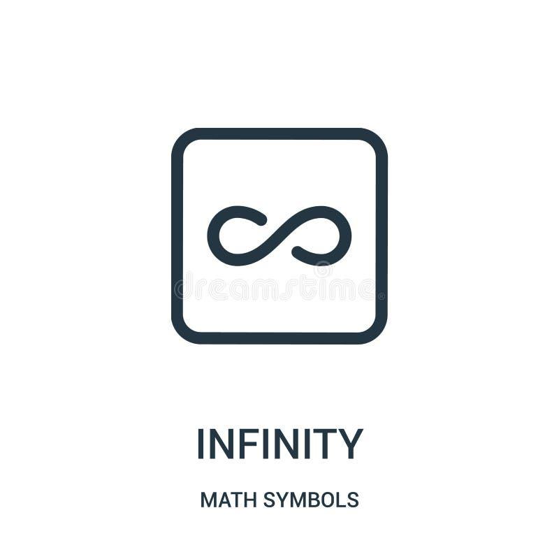 nieskończoności ikony wektor od matematyka symboli/lów inkasowych Cienka kreskowa nieskończoność konturu ikony wektoru ilustracja royalty ilustracja