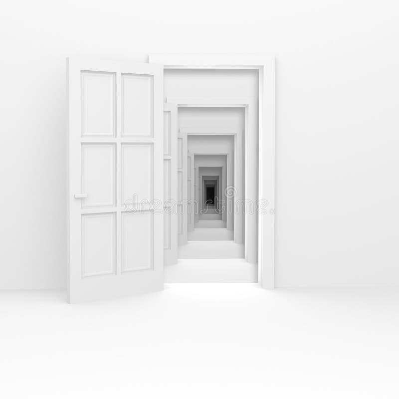 Nieskończony korytarz. ilustracji