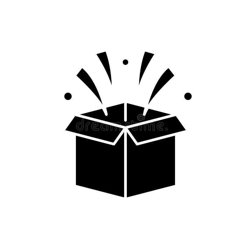 Niespodzianka w pudełkowatej czarnej ikonie, wektoru znak na odosobnionym tle Niespodzianka w pudełkowatym pojęcie symbolu, ilust ilustracja wektor