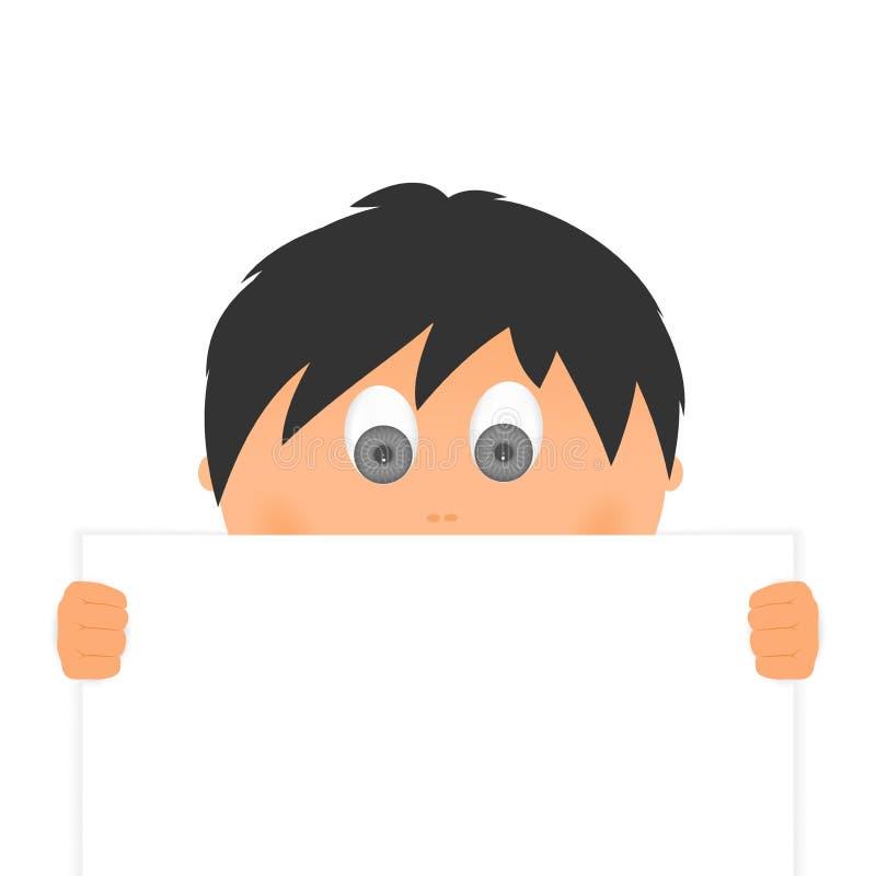 Niespodzianki chłopiec dzieci twarz z czarni włosy kolorem, szarymi oczami z palcami za pustą deską i patrzeć nad białym bac royalty ilustracja