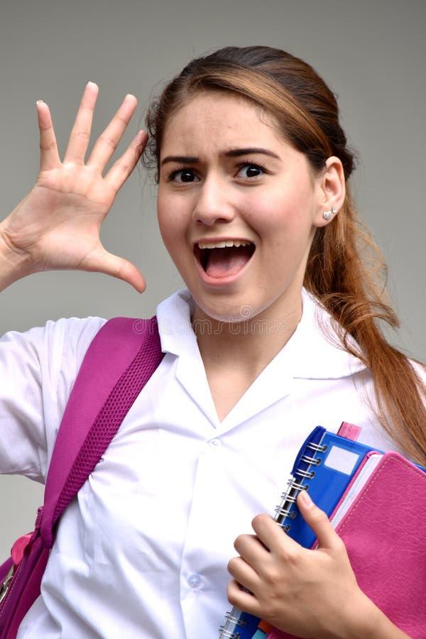 Niespokojna Studencka nastolatek szkoły dziewczyna Jest ubranym mundur zdjęcia stock