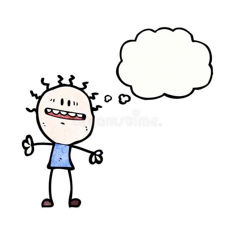 niespokojny energetyczny mężczyzna z myśl bąblem ilustracji