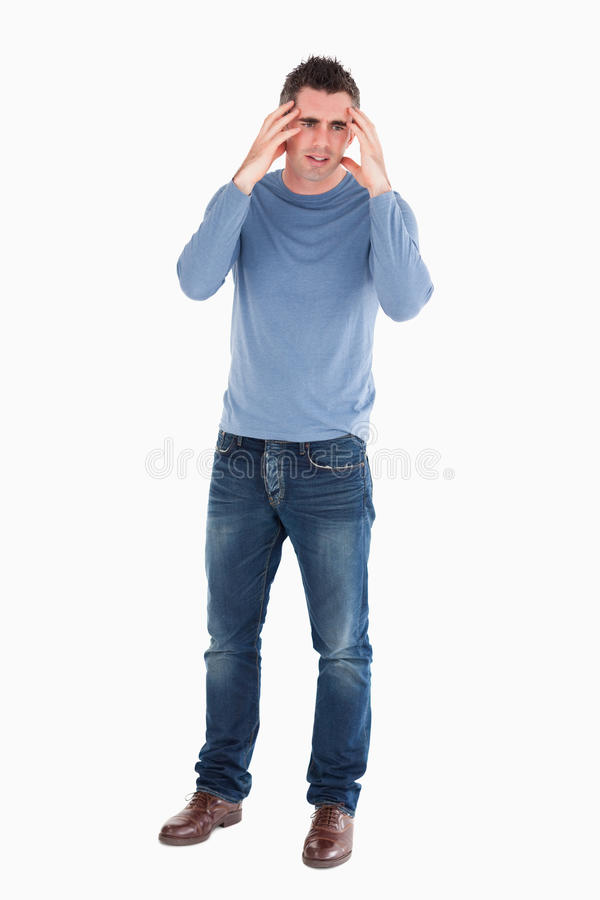 niespokojny przystojny target273_0_ mężczyzna zdjęcia stock