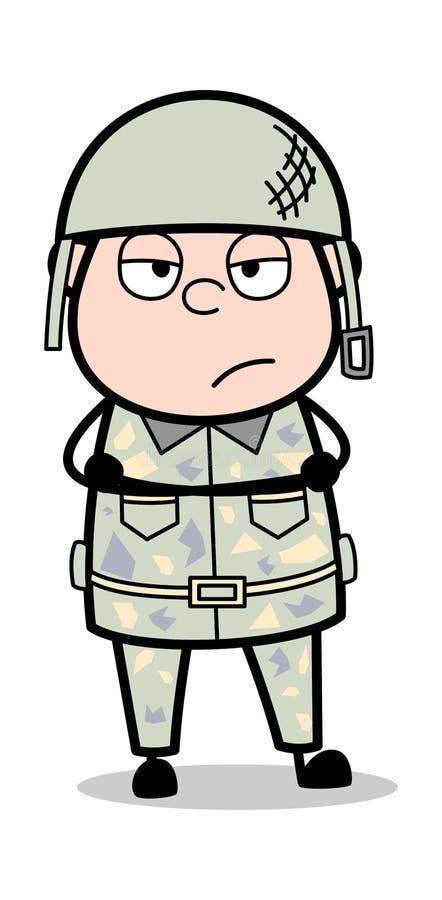 Niestaranny - ?liczna wojsko m??czyzny kresk?wki ?o?nierza wektoru ilustracja ilustracja wektor