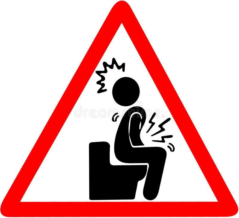 Niestrawność okręgu ostrzegawczej czerwonej ostrożności drogowy znak odizolowywający na bielu ilustracja wektor