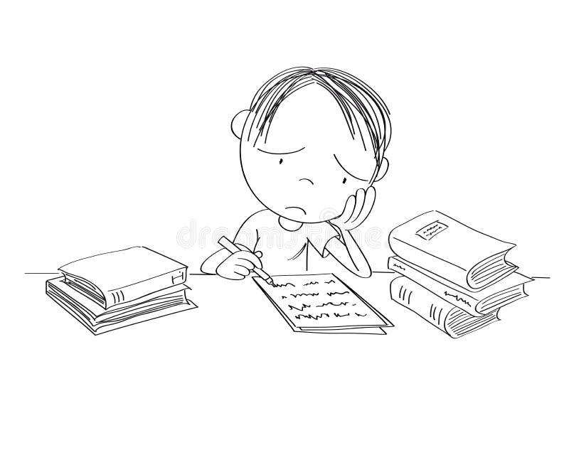 Nieszczęśliwy i zmęczony chłopiec narządzanie dla szkolnego egzaminu, pisać pracie domowej, czuć smutny i zanudzam ilustracja wektor