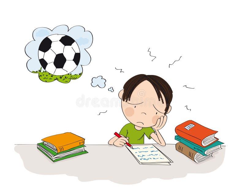 Nieszczęśliwy i zmęczony chłopiec narządzanie dla szkolnego egzaminu, pisać pracie domowej, czuć smutnym i marzyć o bawić się out ilustracja wektor