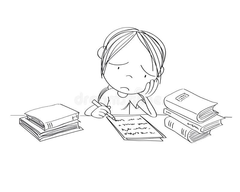 Nieszczęśliwy i zmęczony dziewczyny narządzanie dla szkolnego egzaminu, pisać pracie domowej, czuć smutny i zanudzam - oryginalna ilustracja wektor