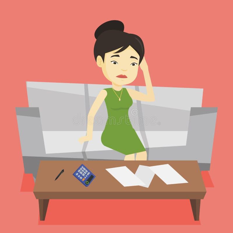 Nieszczęśliwa azjatykcia kobieta rozlicza domowych rachunki ilustracja wektor