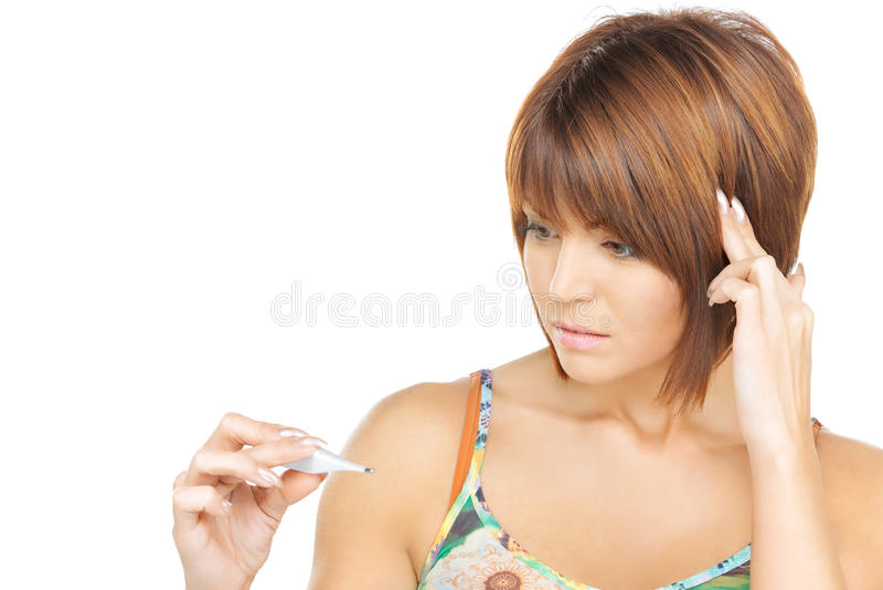 Nieszczęśliwa kobieta z termometrem obrazy stock