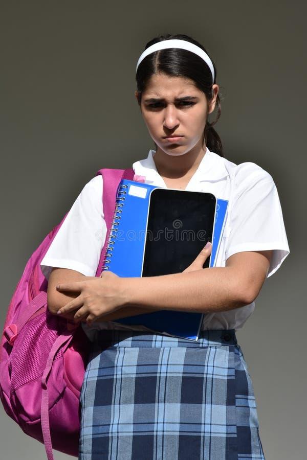 Nieszczęśliwa Kolumbijska osoba Jest ubranym mundur obrazy royalty free