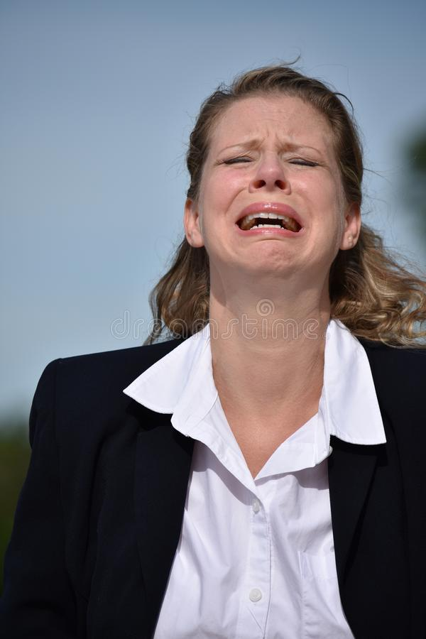 Nieszczęśliwej Dorosłej blondynki Biznesowa kobieta zdjęcia royalty free