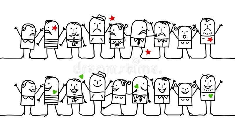 nieszczęśliwi szczęśliwi ludzie ilustracji