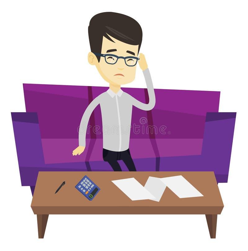 Nieszczęśliwy azjatykci mężczyzna rozlicza domowych rachunki royalty ilustracja