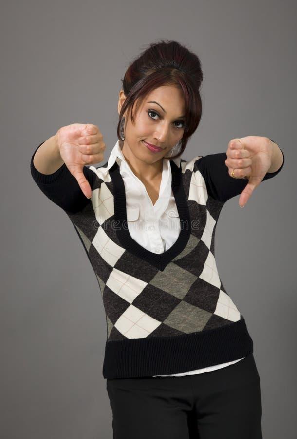 Download Nieszczęśliwy Bizneswoman Daje Kciukom Zestrzela Gest Zdjęcie Stock - Obraz złożonej z znak, emocja: 41950654
