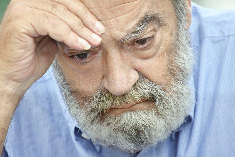 Nieszczęśliwy Brodaty Stary Grampa fotografia stock