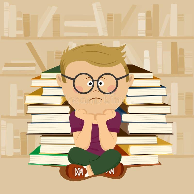 Nieszczęśliwy głupek chłopiec obsiadanie przed stertą książki i półka na książki w szkolnej bibliotece ilustracja wektor