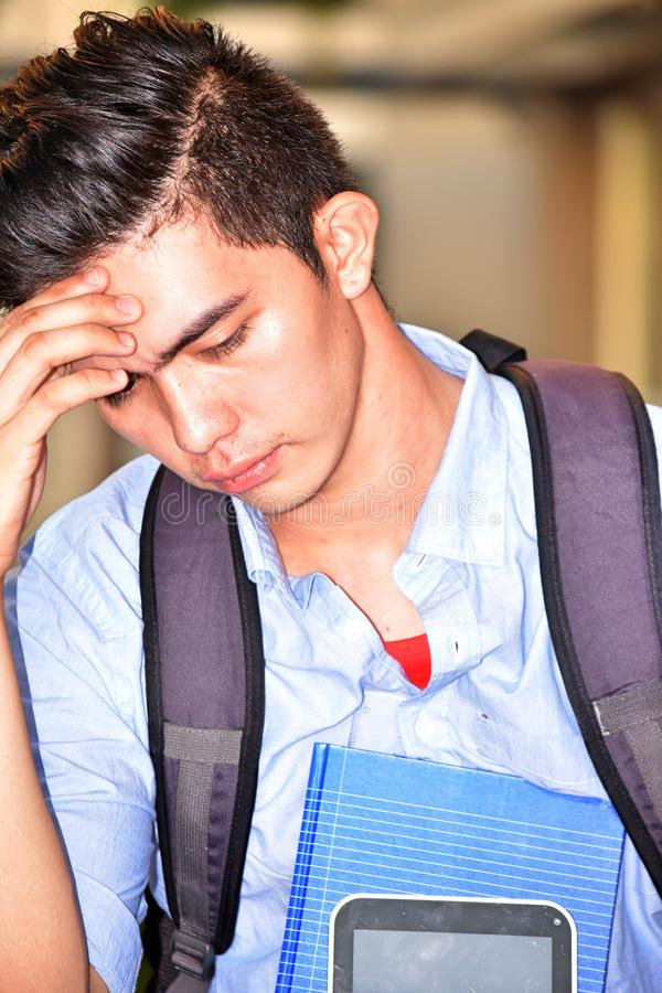 Nieszczęśliwy Męski uczeń Z notatnikami fotografia royalty free