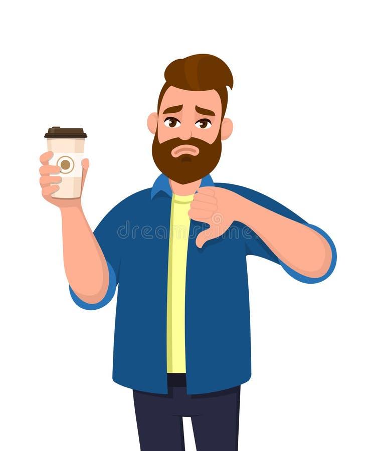 Nieszczęśliwy młody modny mężczyzna trzyma filiżankę gestykuluje kciuki seans i, zestrzela znaka Męskiego charakteru projekta ilu ilustracja wektor