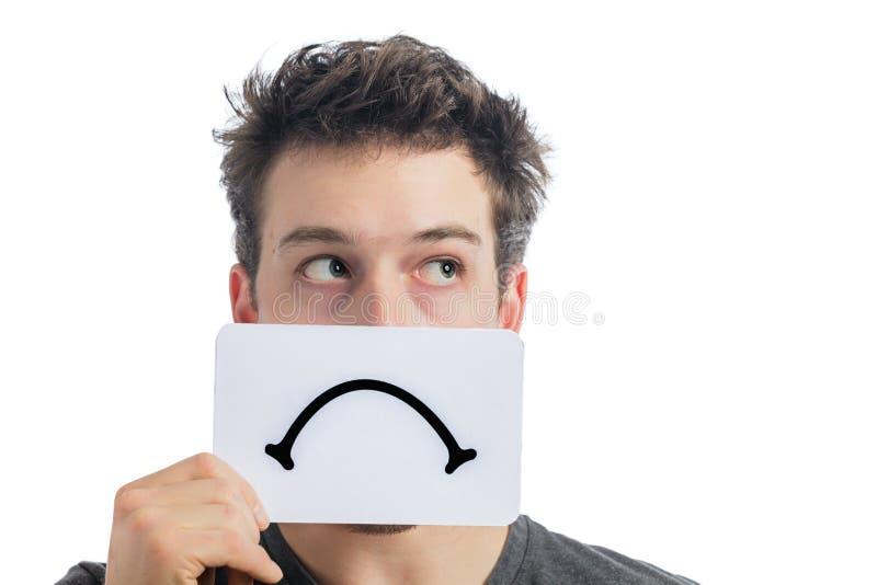 Nieszczęśliwy portret someone Trzyma Smutną nastrój deskę fotografia royalty free