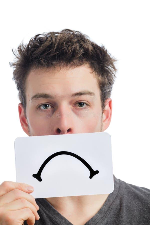 Nieszczęśliwy portret someone Trzyma Smutną nastrój deskę obrazy stock