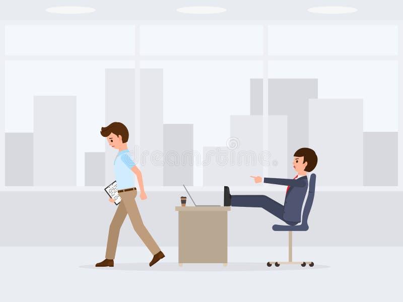 Nieszczęśliwy pracownik budzi się zdala od gniewnego szefa postać z kreskówki Wektorowa ilustracja emocjonalny pracujący dzień ilustracja wektor