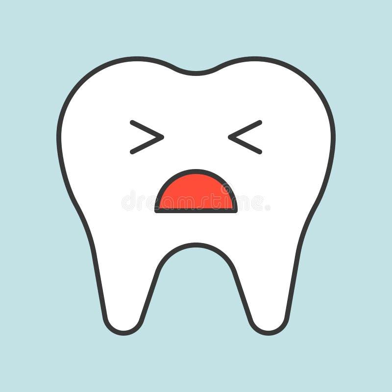 Nieszczęśliwy zębu płacz, stomatologiczna powiązana ikona, wypełniający kontur royalty ilustracja