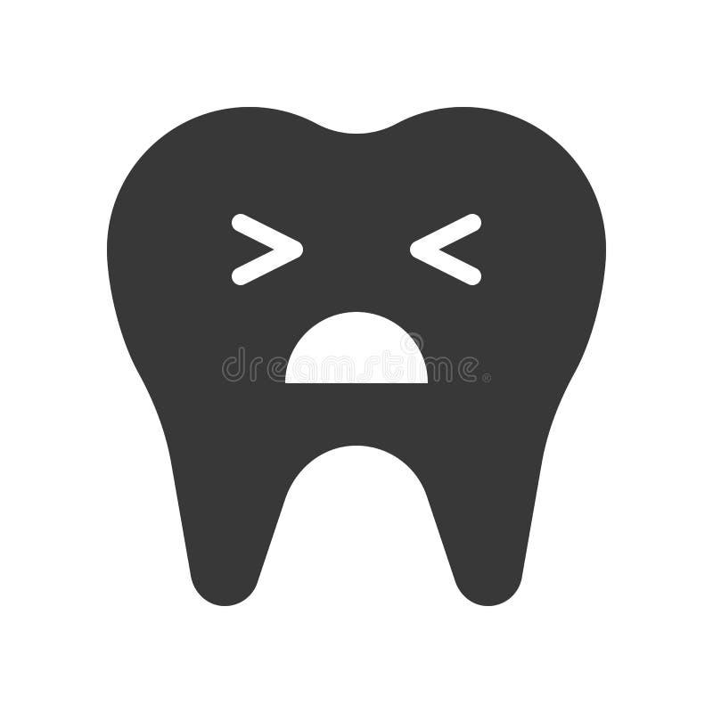 Nieszczęśliwy zębu płacz, stomatologiczna powiązana stała ikona ilustracja wektor