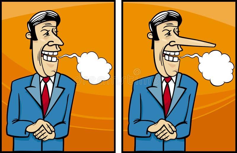 Nieszeczera polityk kreskówki ilustracja royalty ilustracja