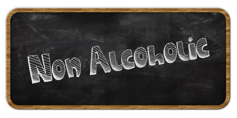 NIET ALCOHOLISCH geschreven in krijt op bord Houten frame stock illustratie