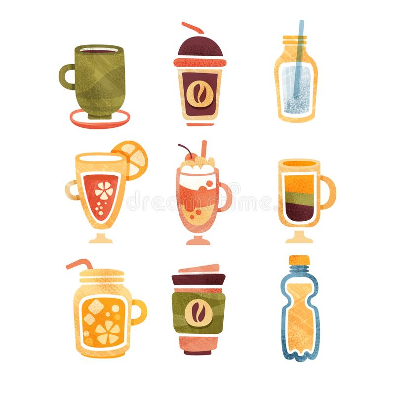 Niet alcoholische dranken, thee, koffie, hete chocolade, latte, smoothie, sap, limonade vectorillustraties op een wit stock illustratie