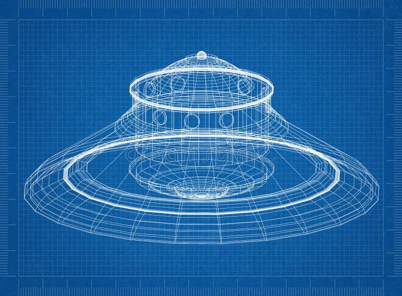 Niet geïdentificeerd vliegend voorwerp - de blauwdruk van de UFOarchitect royalty-vrije illustratie