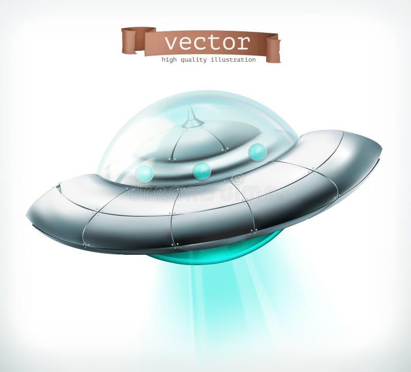 Niet geïdentificeerd vliegend voorwerp Het vectorpictogram van het UFOruimtevaartuig vector illustratie