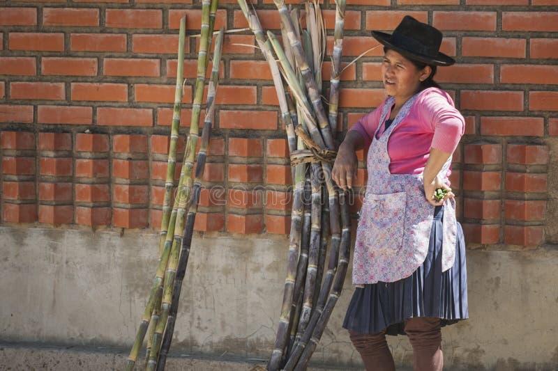 Niet geïdentificeerde inheemse inheemse Quechua vrouw met traditionele stammenkleding en hoed, bij de Tarabuco-Zondagmarkt, Boliv royalty-vrije stock fotografie