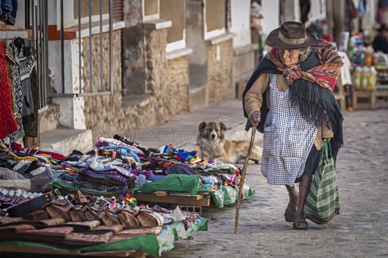 Niet geïdentificeerde inheemse inheemse Quechua vrouw met traditionele stammenkleding en hoed, bij de Tarabuco-Zondagmarkt, Boliv stock foto