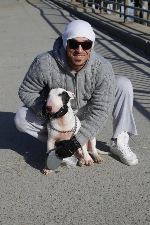 Niet geïdentificeerde mens met Bull terrier royalty-vrije stock foto's